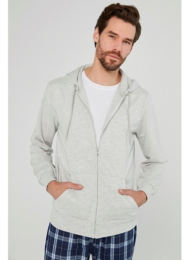 Penti Erkek Açık Gri Melanj Zip Hood Sweatshirt PH5WV35Y20SK Gri